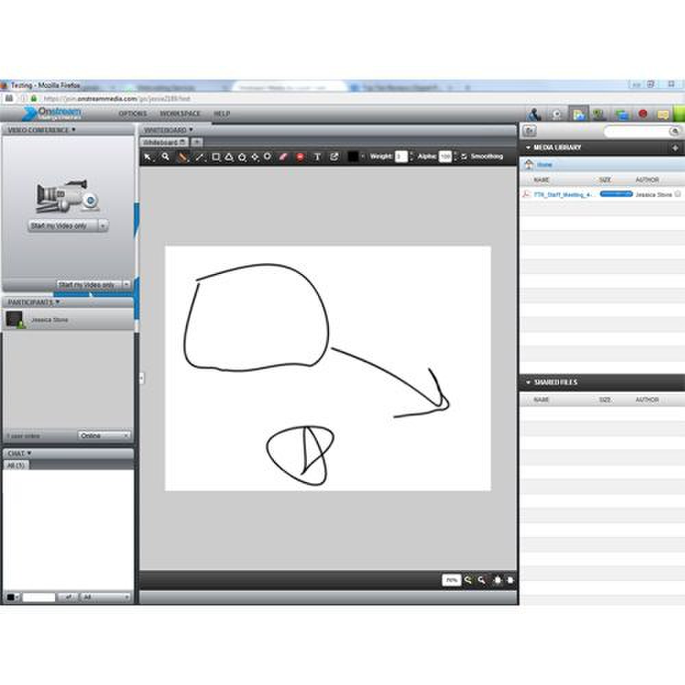 Onstream Media image: You can customize the layout of the workspace to best accommodate your audience.