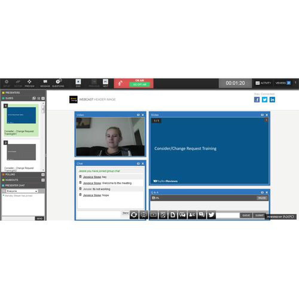 INXPO image: This full-featured platform allows you to preview slides before they are displayed to attendees.