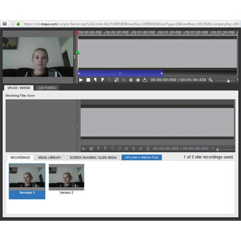 INXPO image: After recording a webcast, you can edit it using the platform's advanced recording tool.