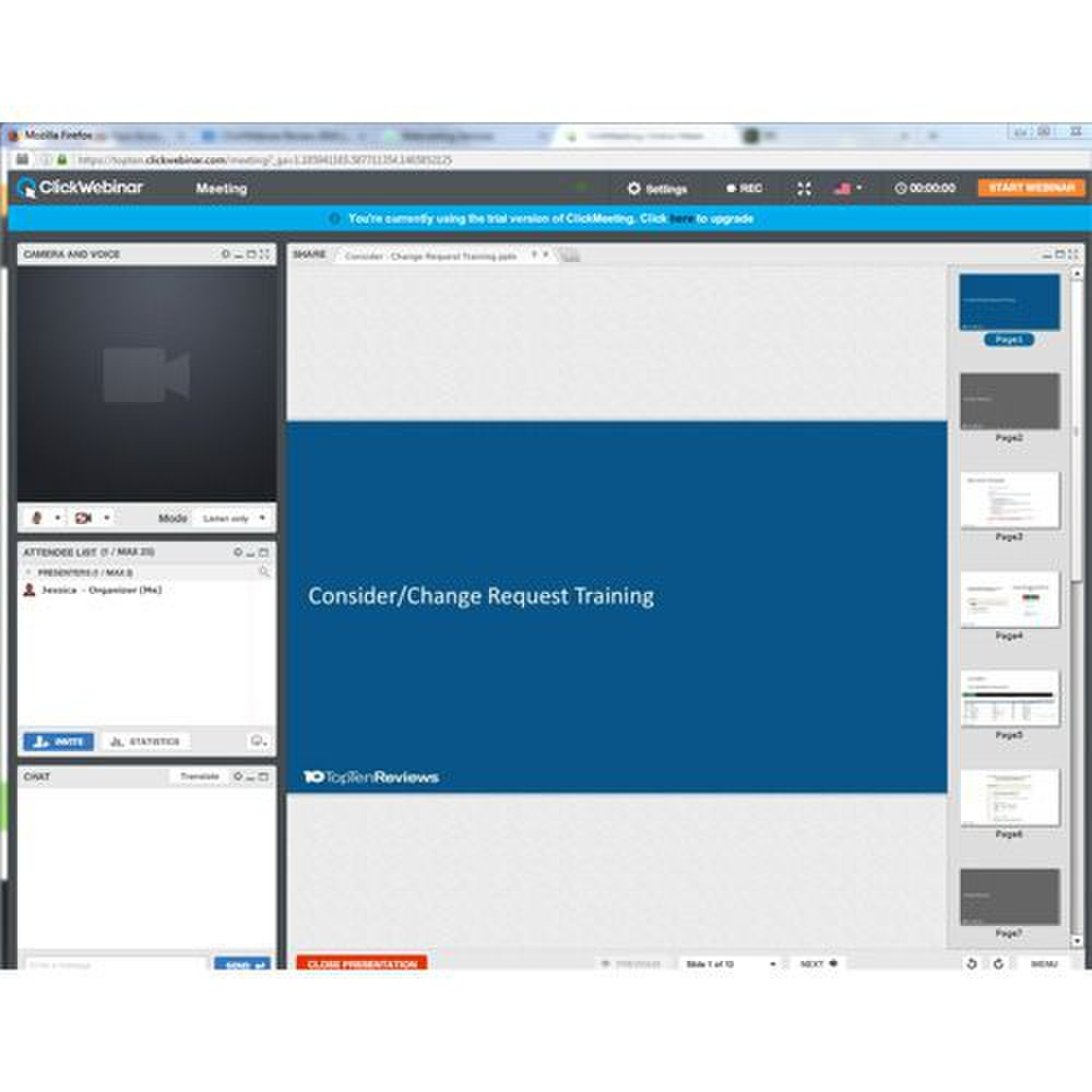 ClickWebinar image: You can preview the slides of your presentation before sharing them with your attendees.