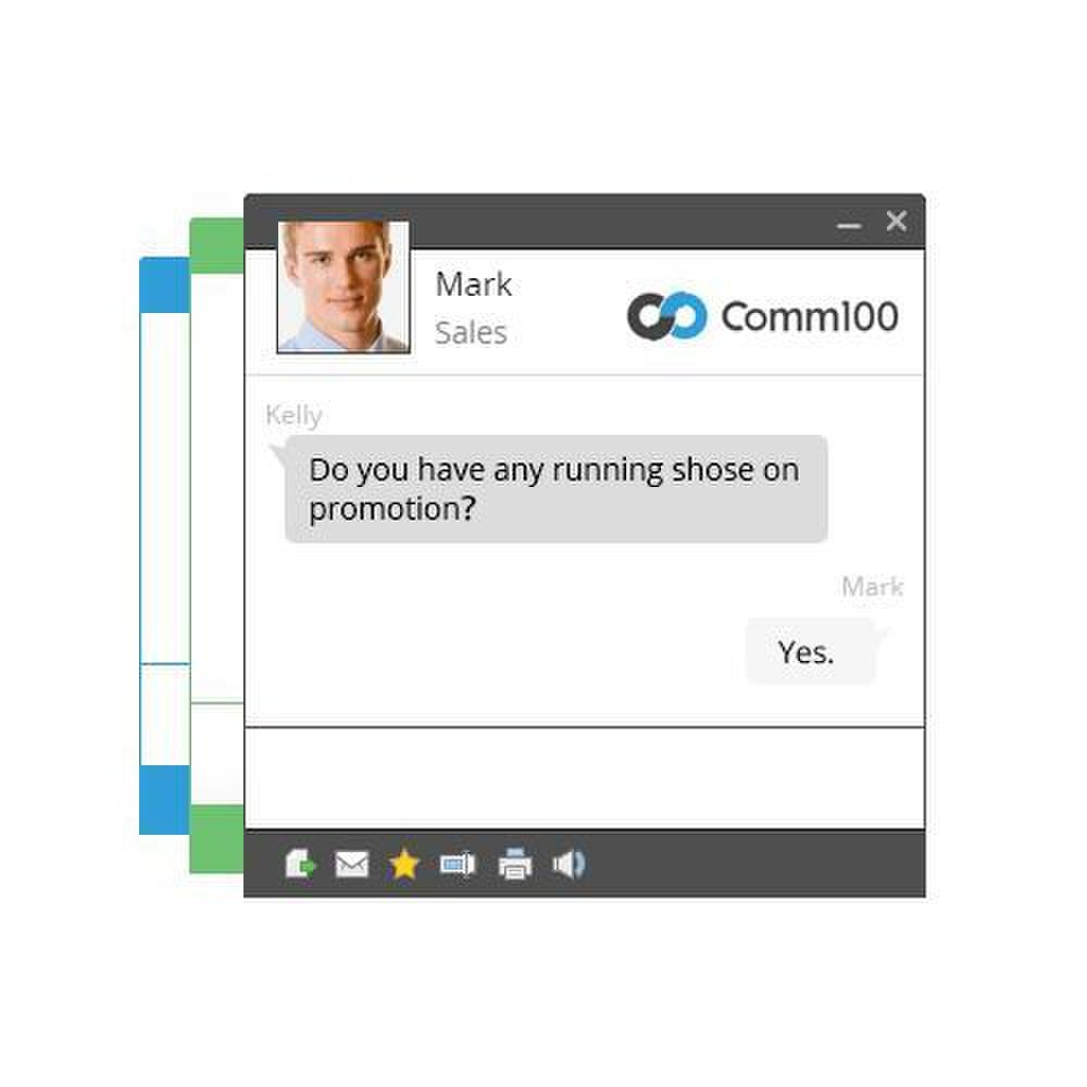 Comm100 image: The customer chat window is clean, and you can customize it to support your brand.
