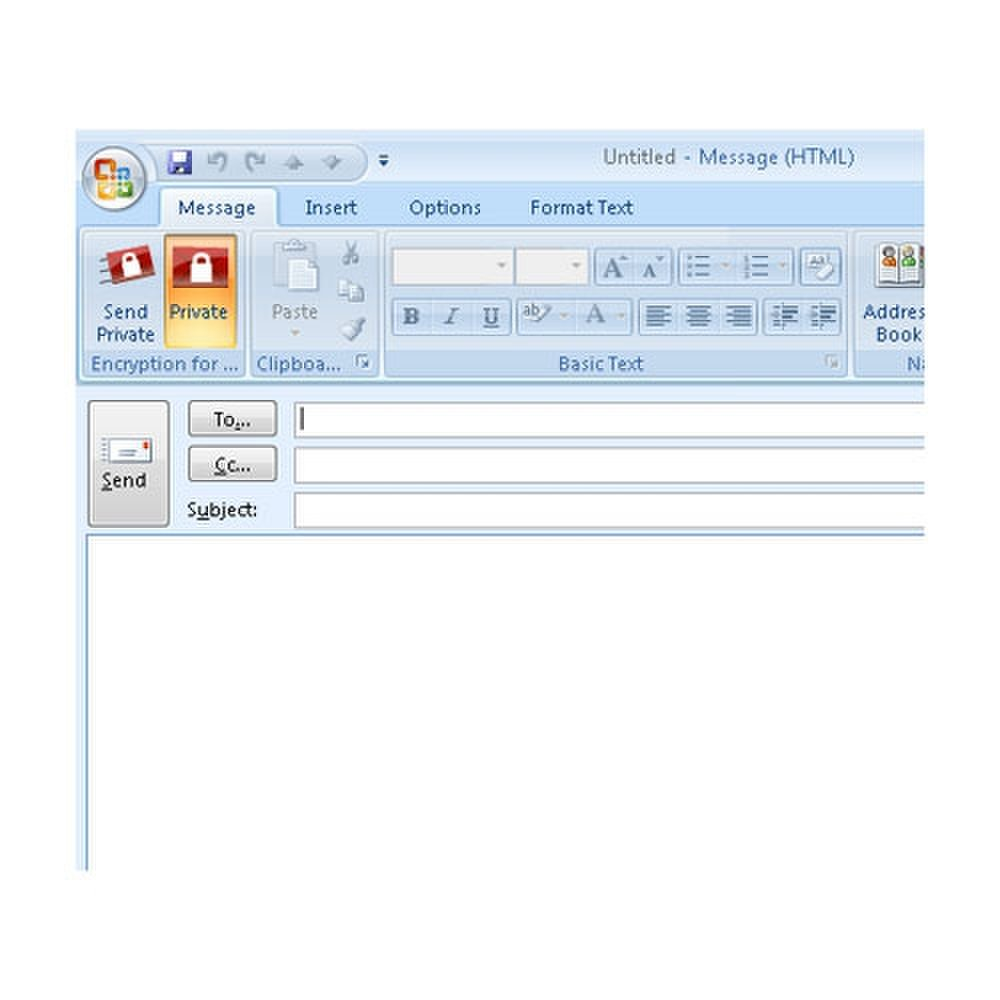 Trend Micro image: This image shows the Outlook plugin for sending secure messages.