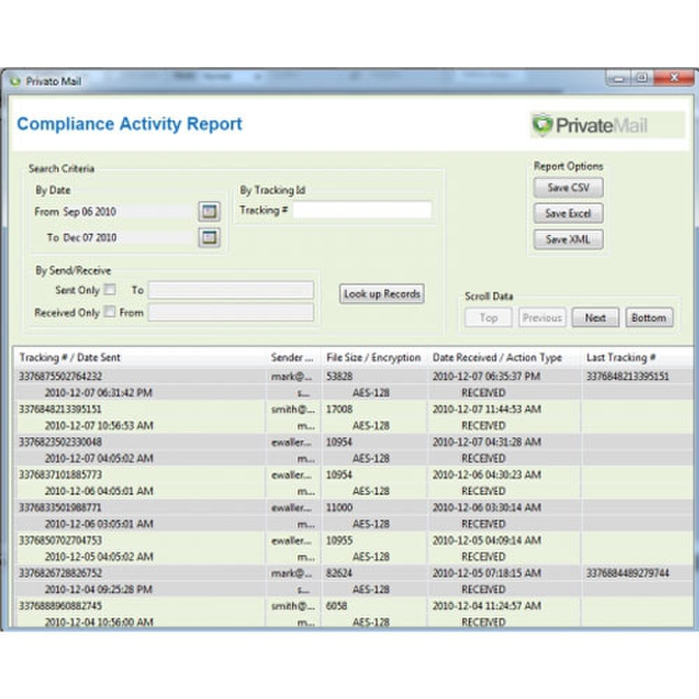 Privato image: This screenshot shows a sample compliance activity report.