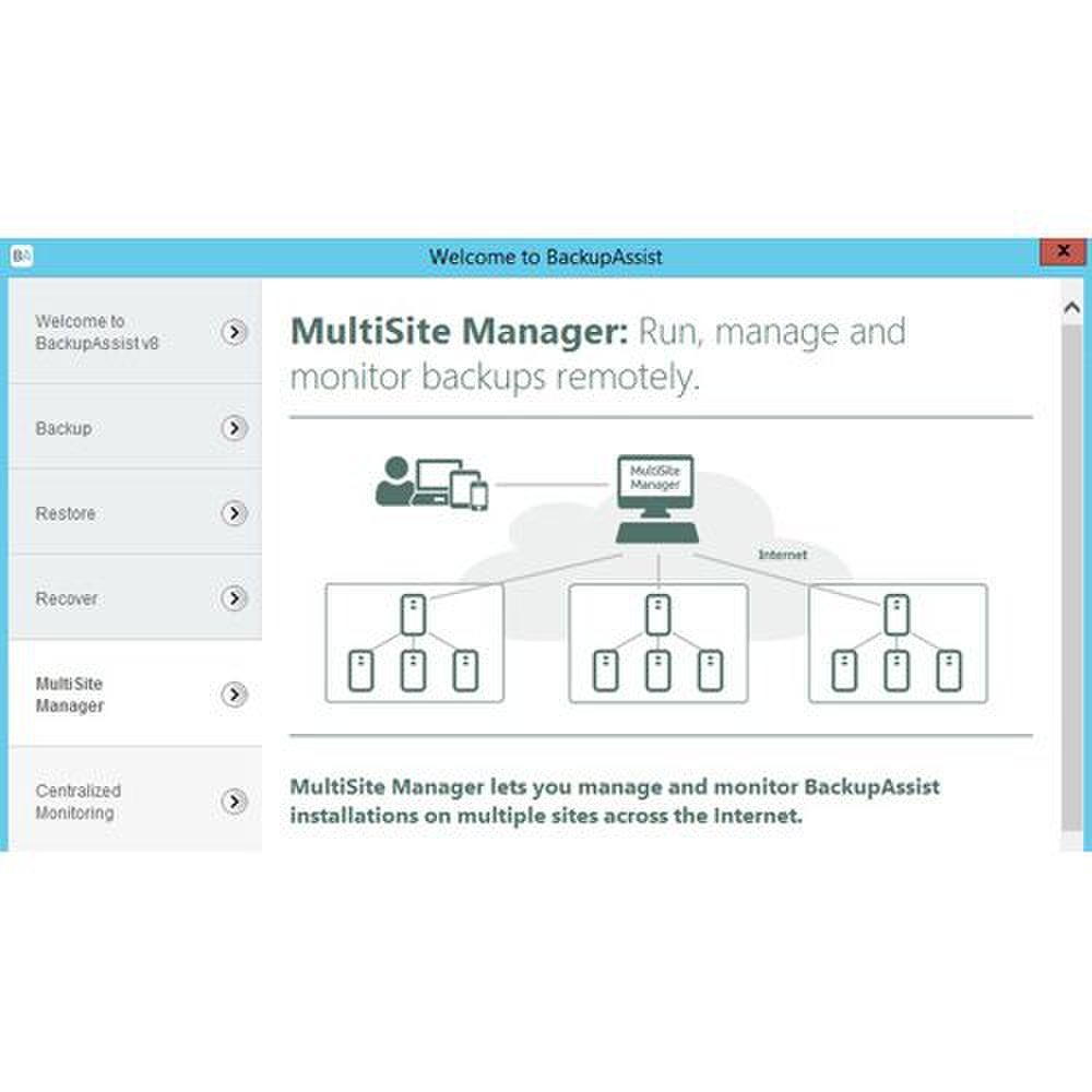 BackupAssist image: The multisite manager tab is where you keep tabs on all the servers you're backing up.