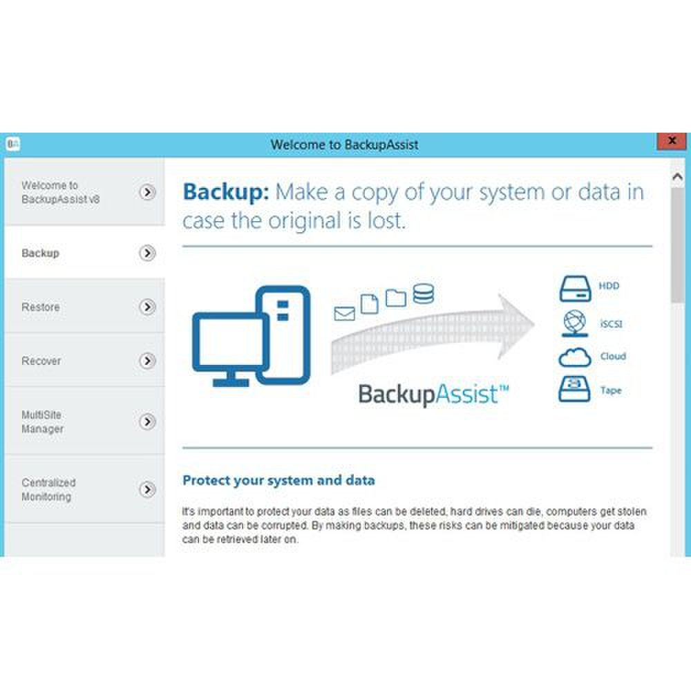 BackupAssist image: The backup tab is clearly labeled and easy to find, making it easy to configure backup sets.