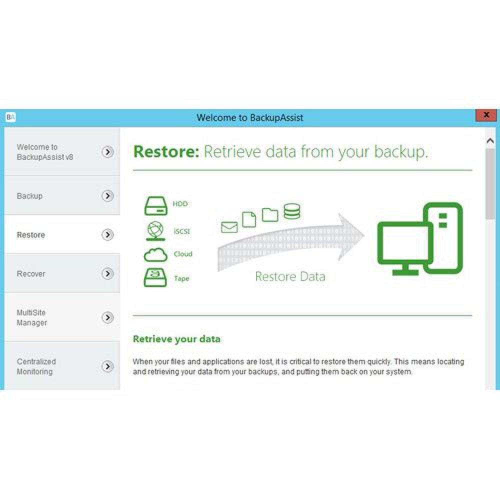 BackupAssist image: The restore tab gives you options for the media that you want to restore the data on.