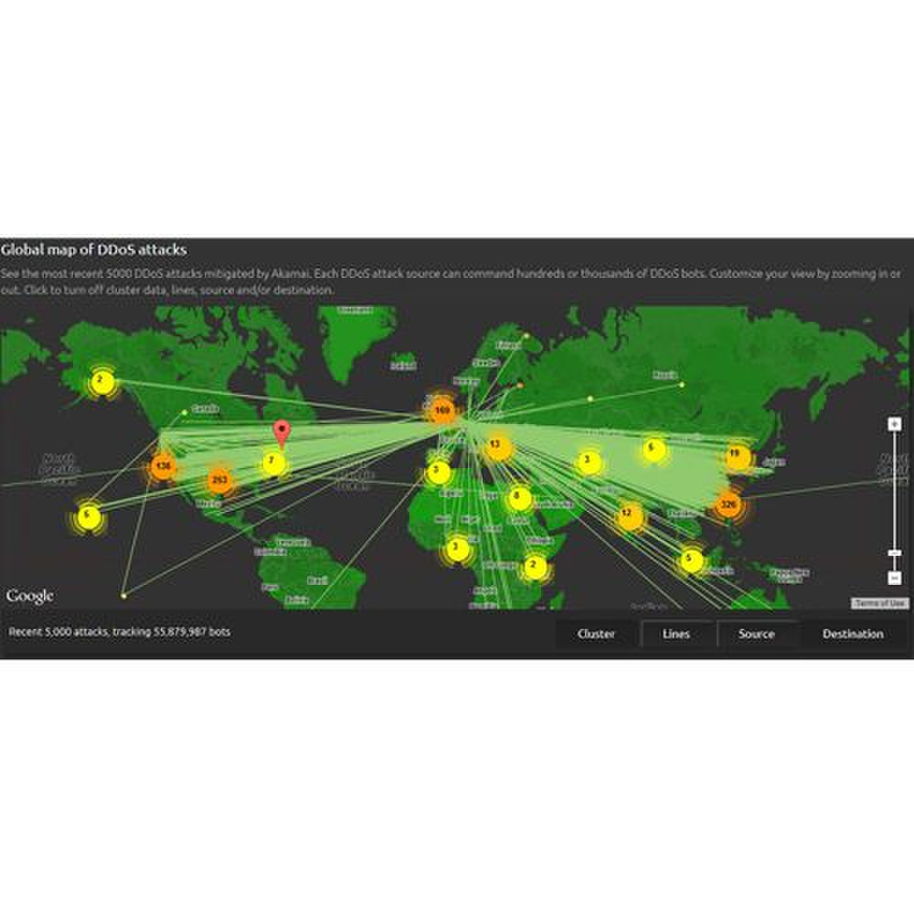 Akamai Kona Site Defender image: This map displays 5,000 of the most recent DDoS attacks Akamai was able to mitigate.
