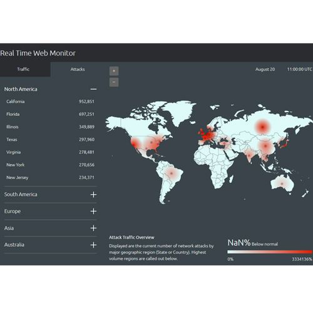 Akamai Kona Site Defender image: This useful tool helps you monitor real-time traffic and attacks by major geographic regions.
