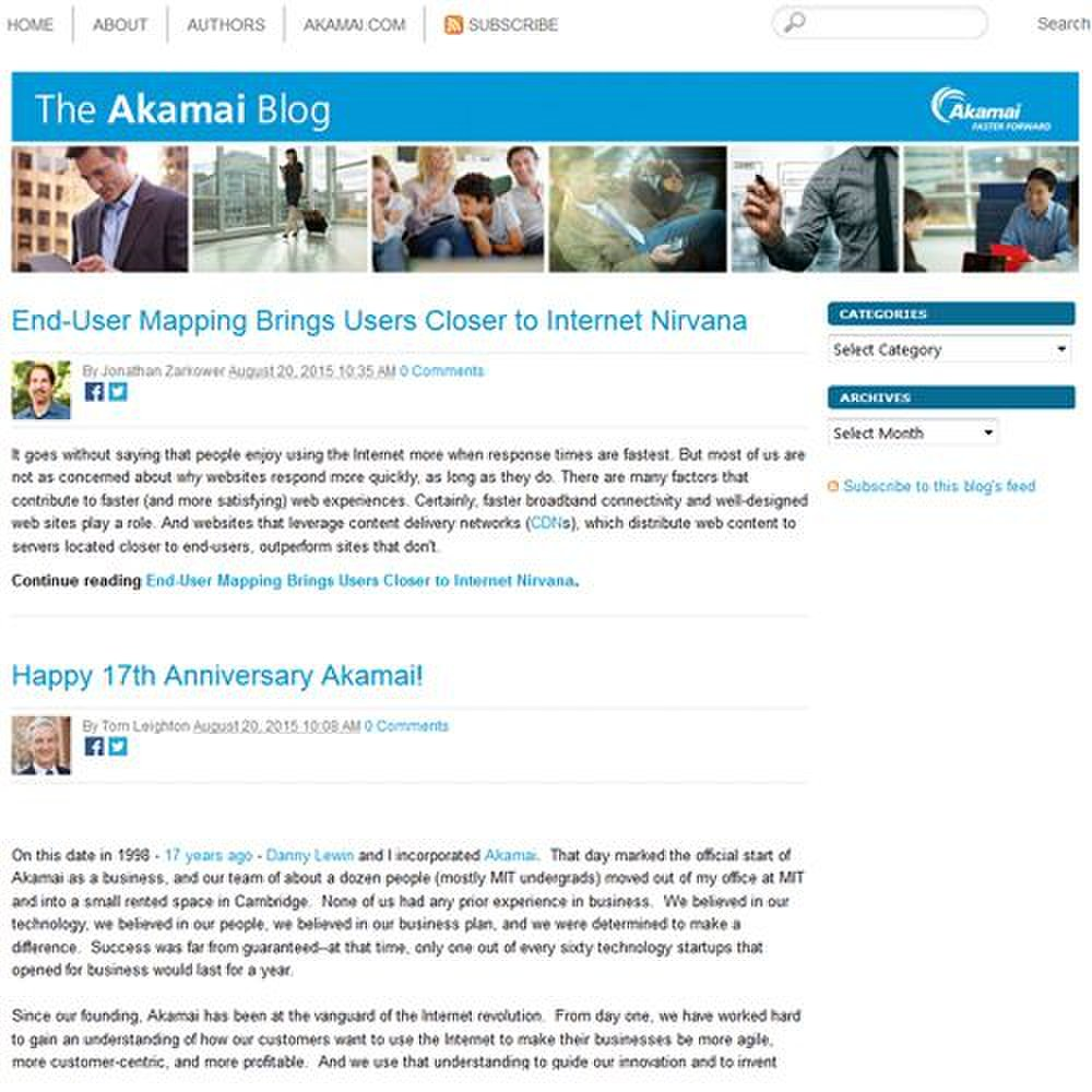 Akamai Kona Site Defender image: You can access The Akamai Blog from the service's website. It offers interesting articles related to internet security.