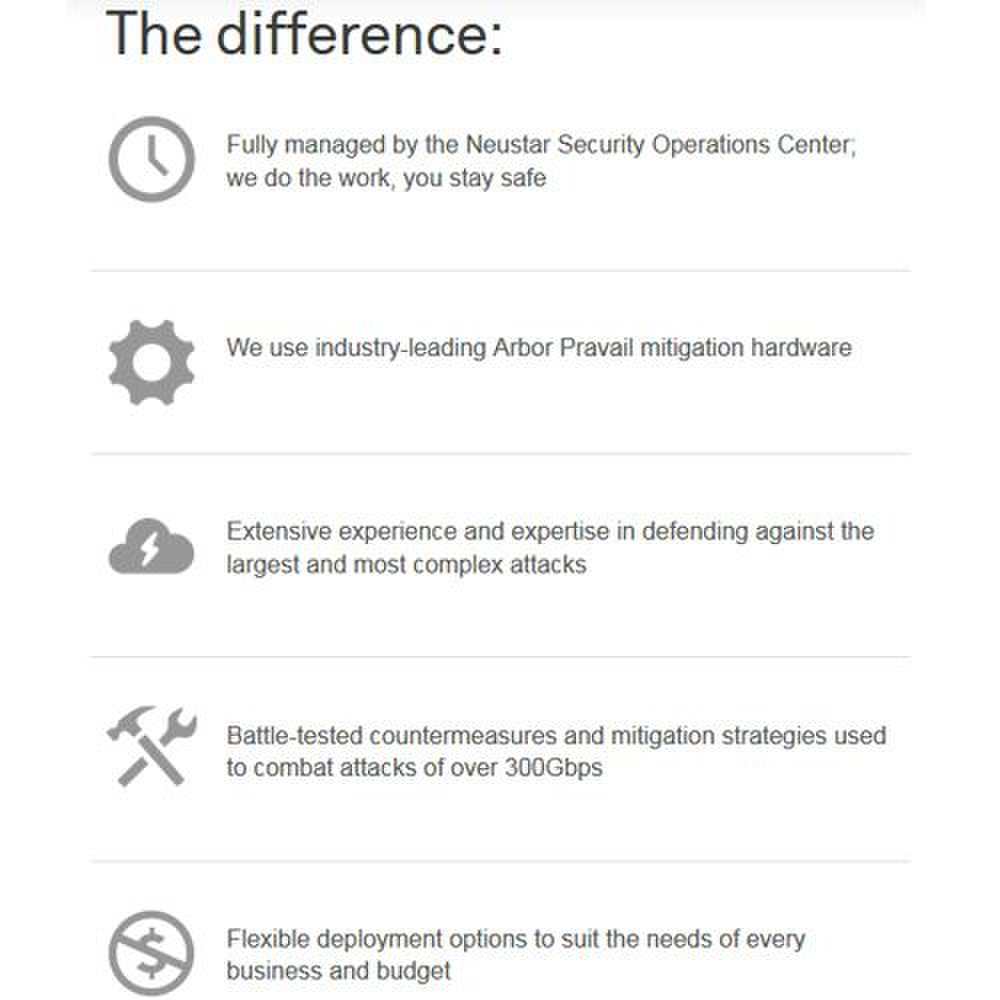 Neustar SiteProtect image: The above chart illustrates the key ways that Neustar protects you from DDoS attacks.