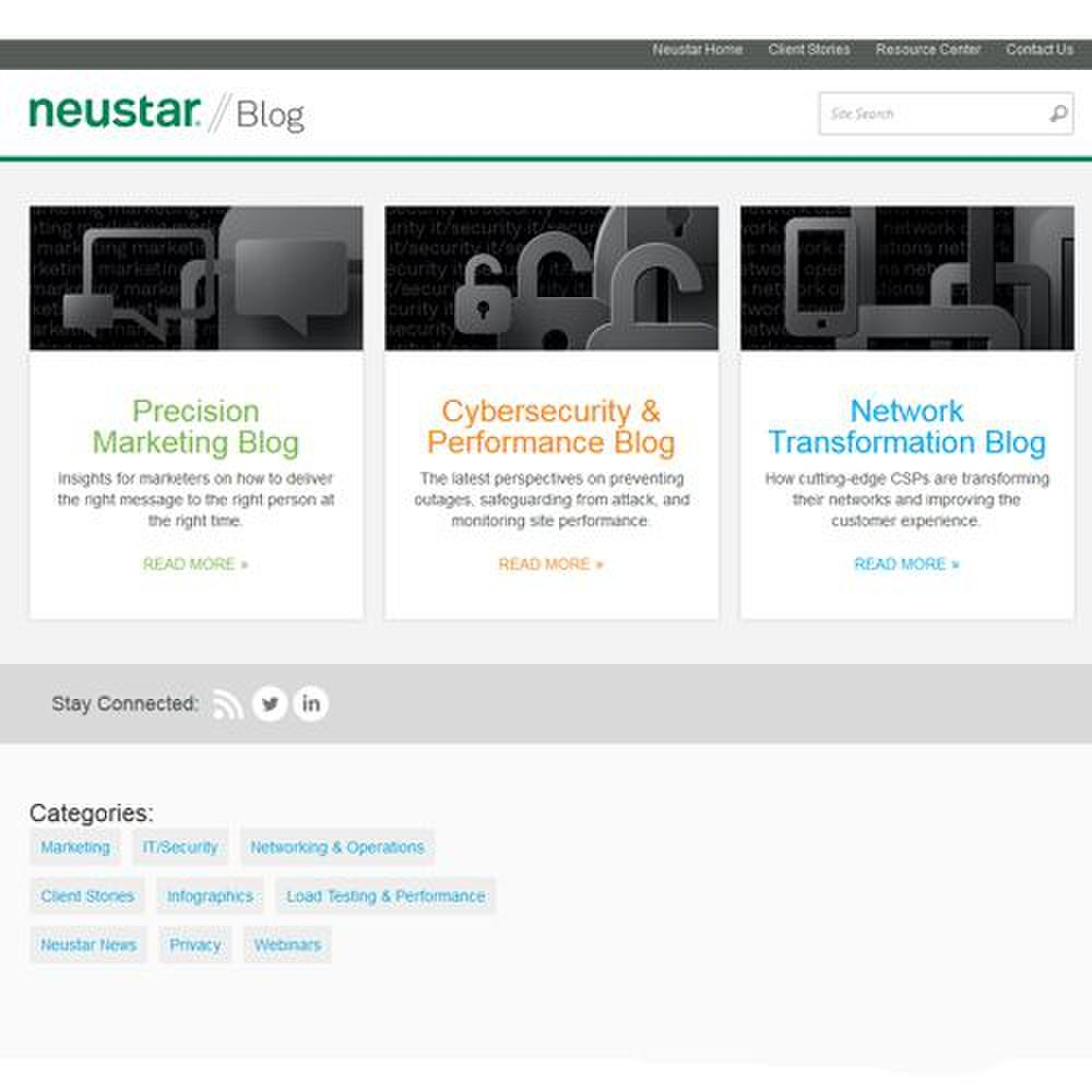 Neustar SiteProtect image: The company has several blogs that discuss information related to internet security.