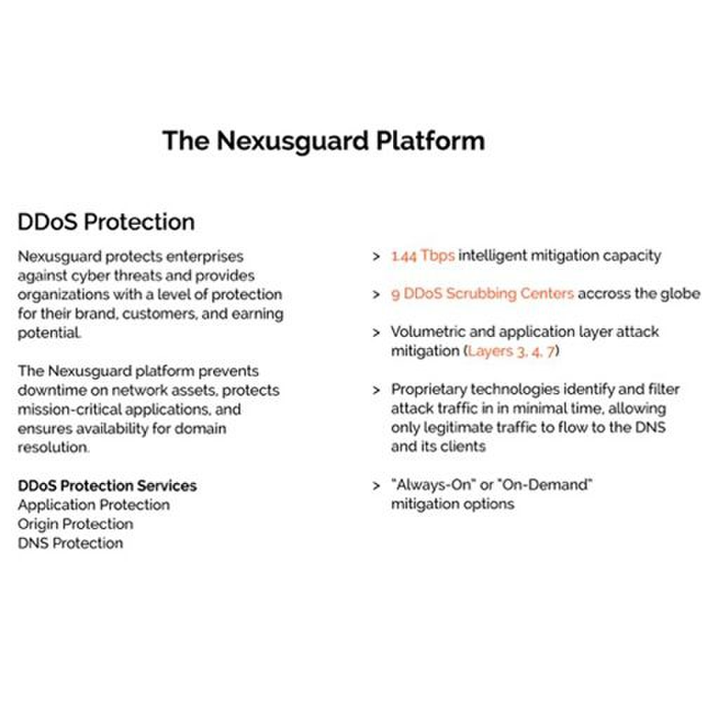 Nexusguard ClearDDoS image: This service can handle large-scale volumetric attacks with a 1.44TB intelligent mitigation capacity and nine scrubbing centers.