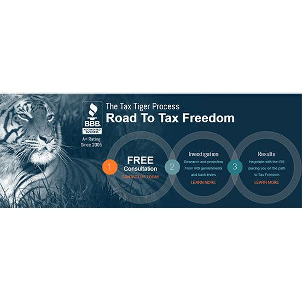 Tax Tiger image: Tax Tiger takes your case through three steps: a free consultation, an investigation phase and a results phase, where the company negotiates with the IRS on your behalf.