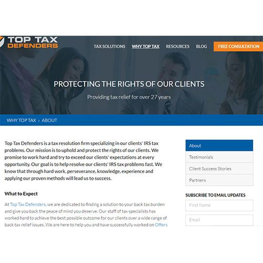 Top Tax Defenders image: This service has been in business for over 27 years.