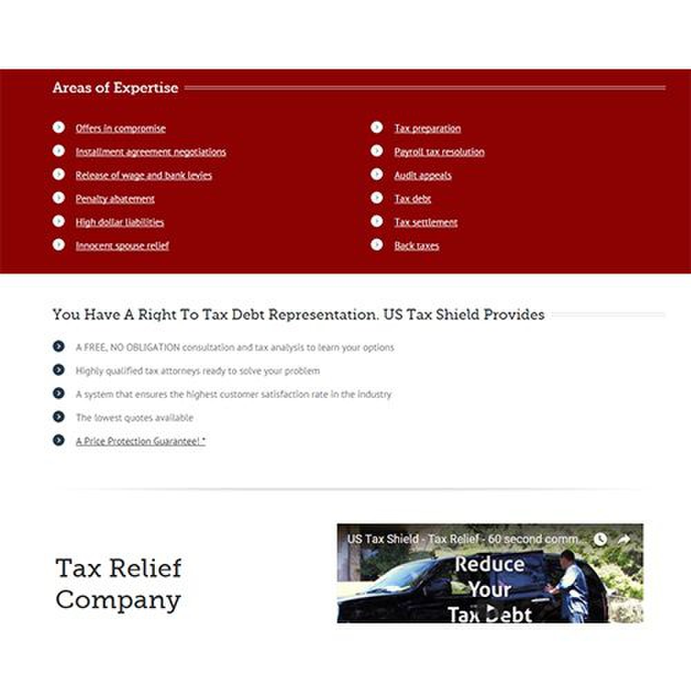 US Tax Shield image: This company can help with a variety of tax problems, including offers in compromise, back taxes and more.