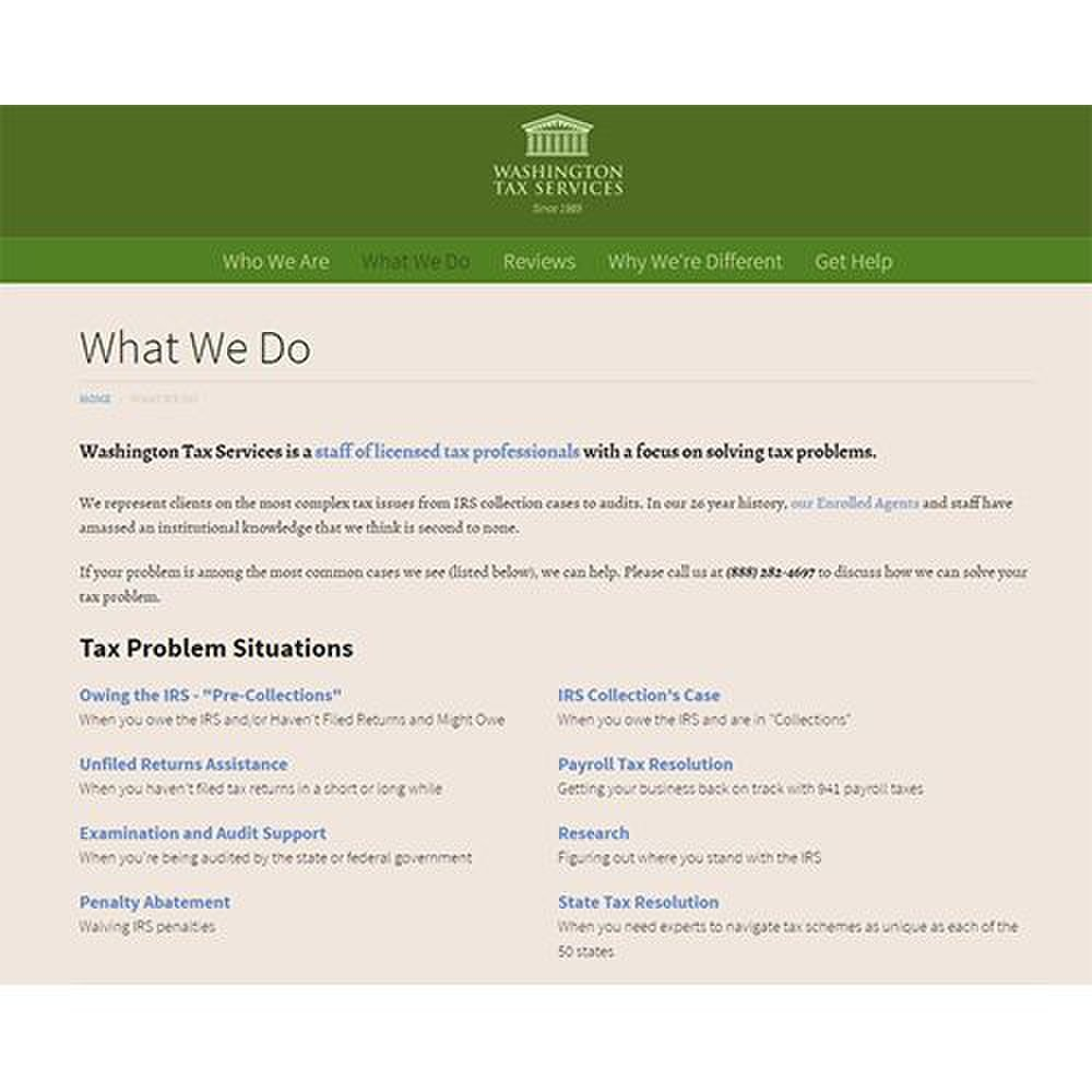 Washington Tax Services image: Washington Tax Services has enrolled agents available to represent you before the IRS.