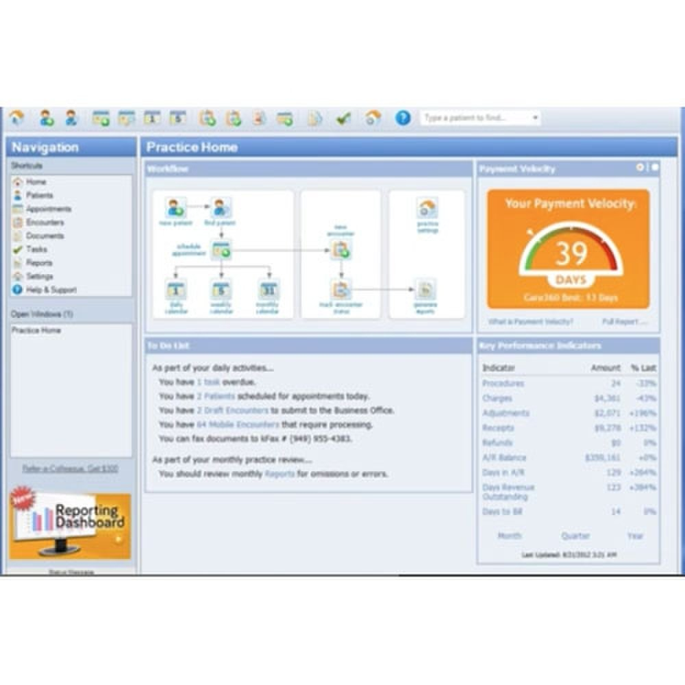 Your user dashboard allows you to quickly access patient information, a to-do list and reports.
