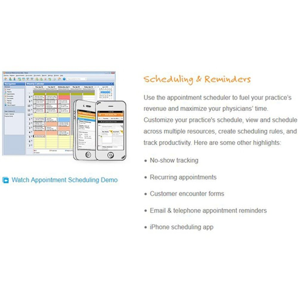 You can schedule patient appointments using the practice management software included with Kareo's billing services.