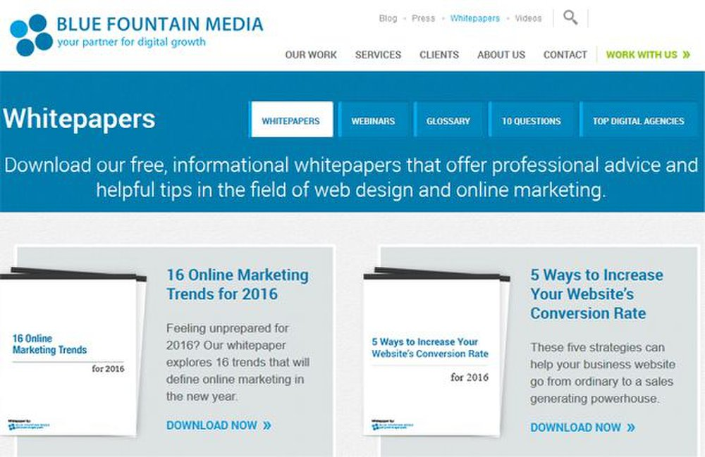 Blue Fountain Media image: You can learn plenty from this website design business's website – not just about web design, but about business in general.