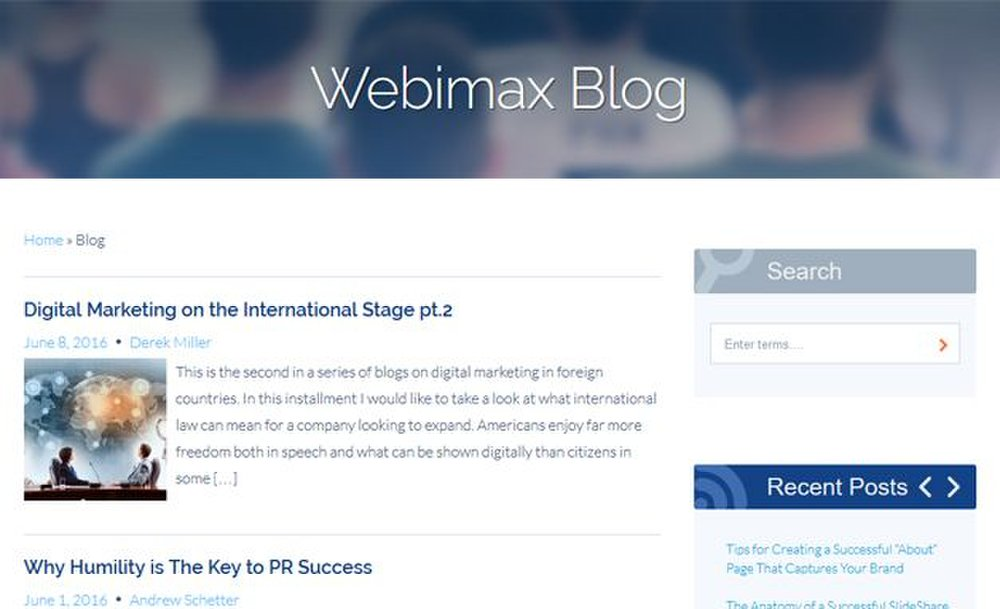 Webimax image: This web design company's blog includes articles to keep you abreast of marketing trends, and it's updated regularly.