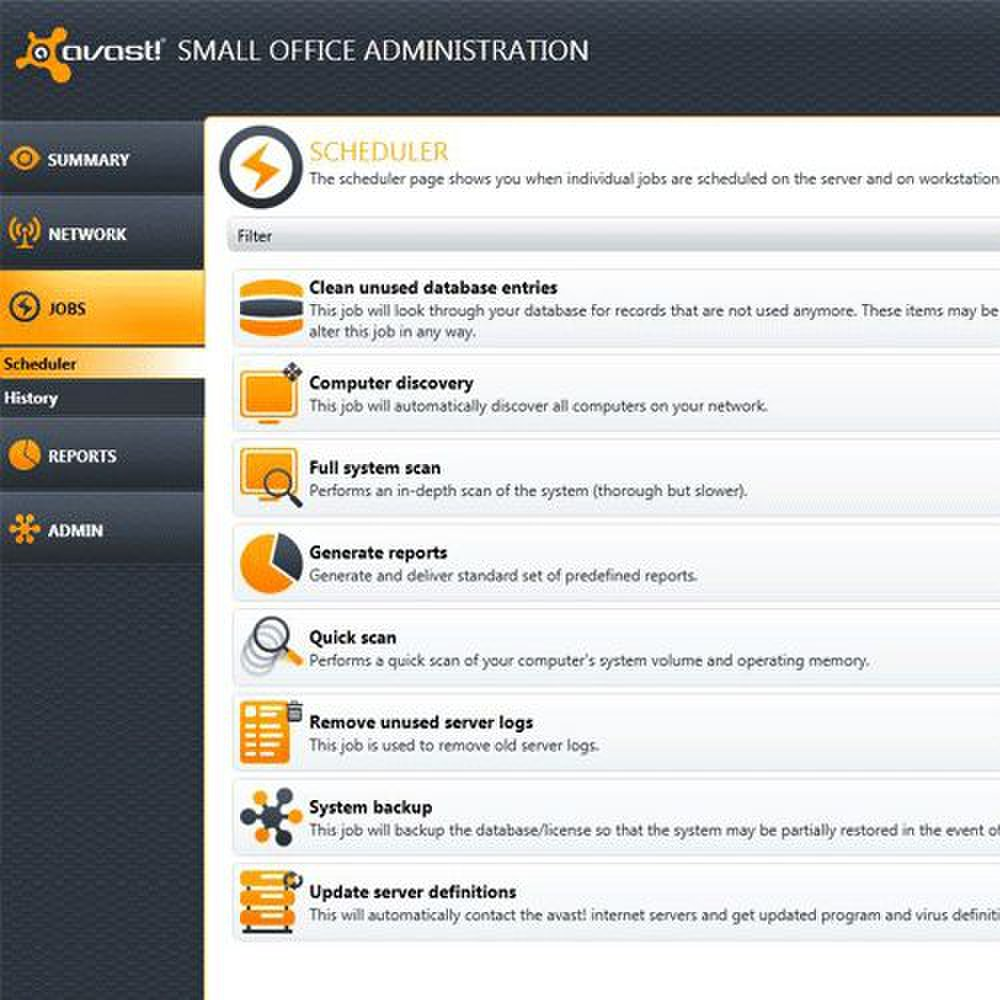 Avast features a scheduler to help you manage your network with minimal hands-on effort.