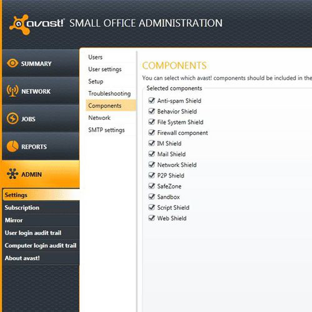 Using the management console, you can customize which software components you want to deploy.