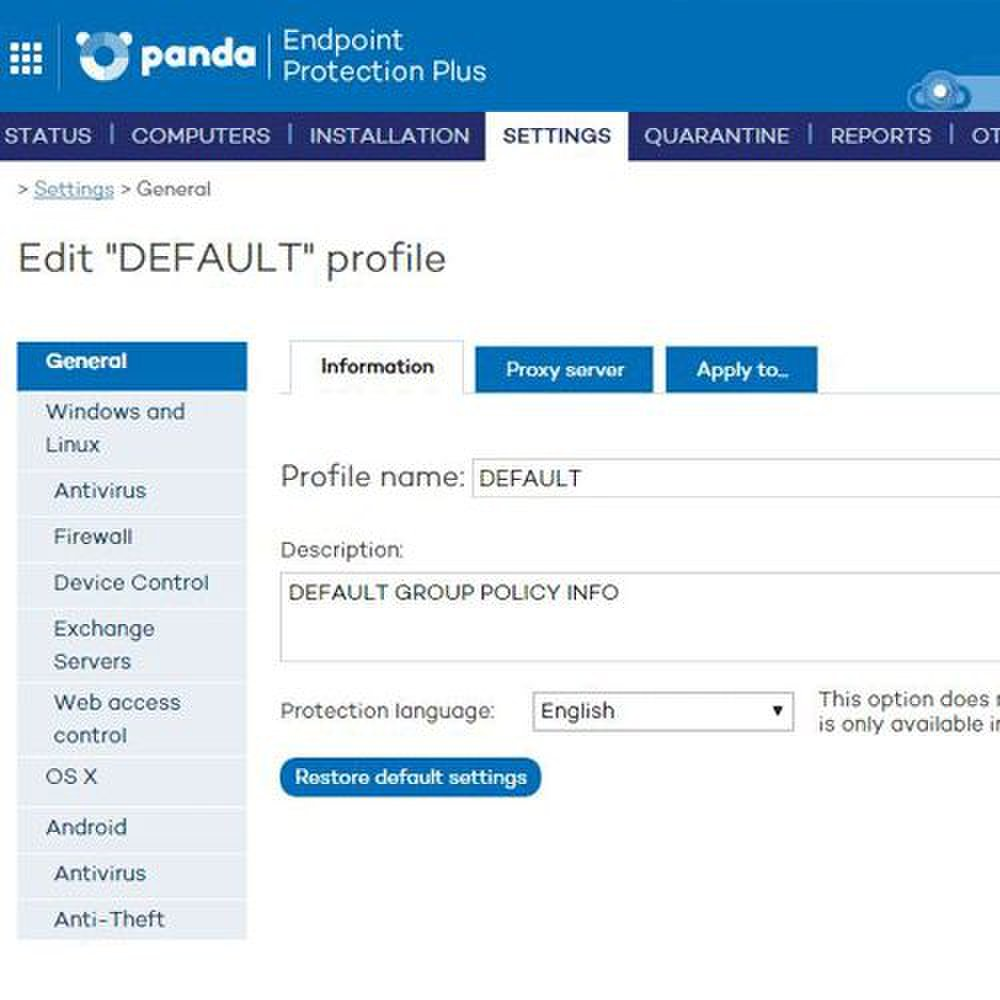 Panda Endpoint Protection Plus image: If you aren't comfortable configuring the network security standards, you can use the default settings or create new policies.
