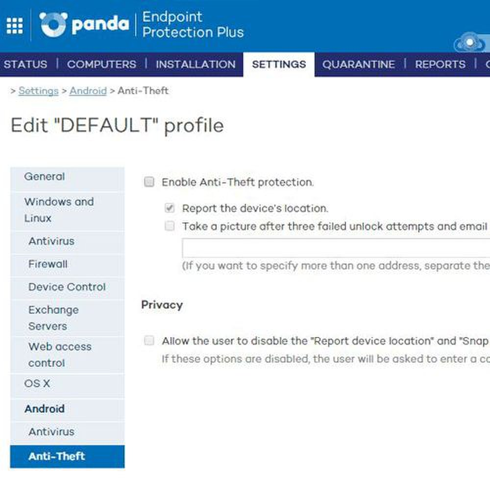Panda Endpoint Protection Plus image: For certain devices, you can enable anti-theft protection and track the device's location or even take a picture of the thief.