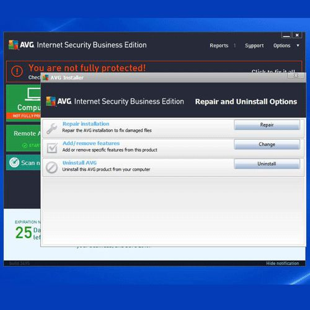 AVG Internet Security Business Edition image: AVG features a helpful installer to help you customize features, uninstall or repair damaged components.