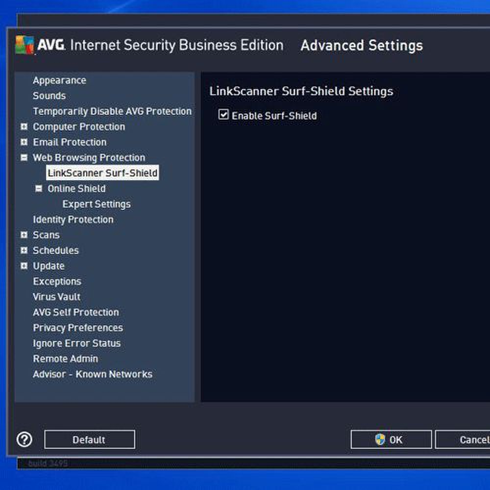 AVG Internet Security Business Edition image: Using the console, you can adjust and customize security features such as web browsing.