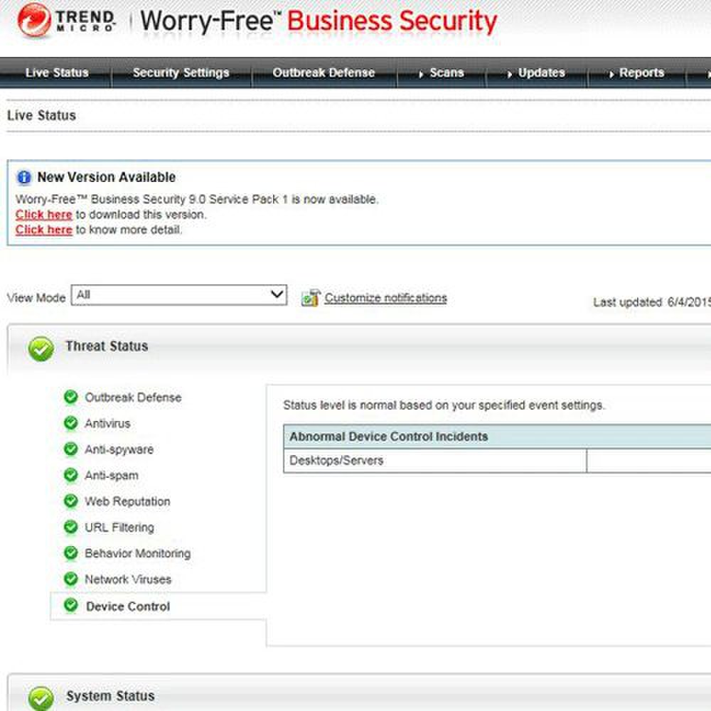 Trend Micro Worry Free Business Security Advanced image: In order to manage your devices and security settings from one place, the software offers a centralized management dashboard.