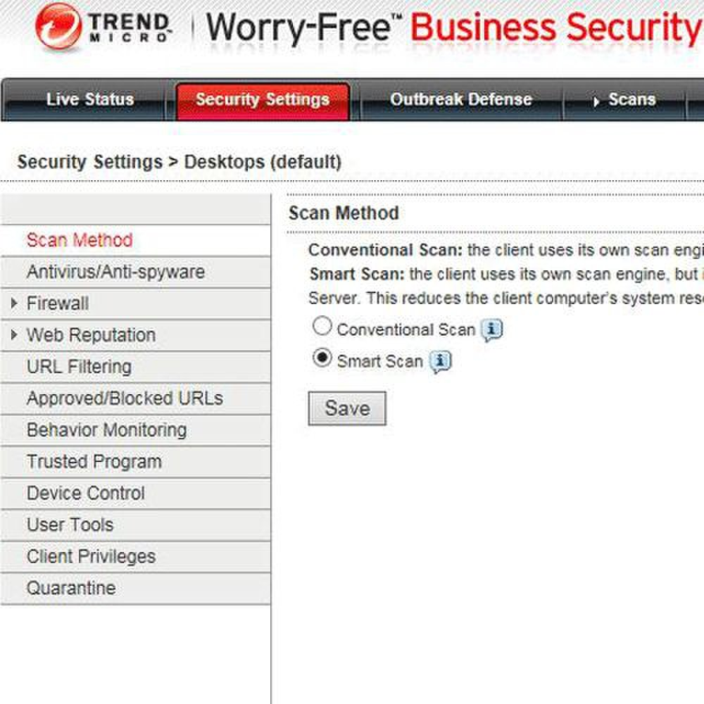 Trend Micro Worry Free Business Security Advanced image: From the security settings tab, you can access security elements to customize.