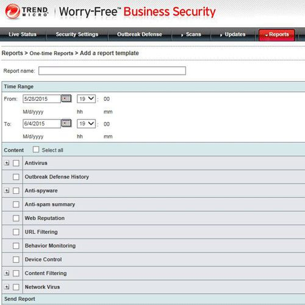 Trend Micro Worry Free Business Security Advanced image: You can generate custom reports with date ranges and specific topics like anti-spam, URL filtering or device control.