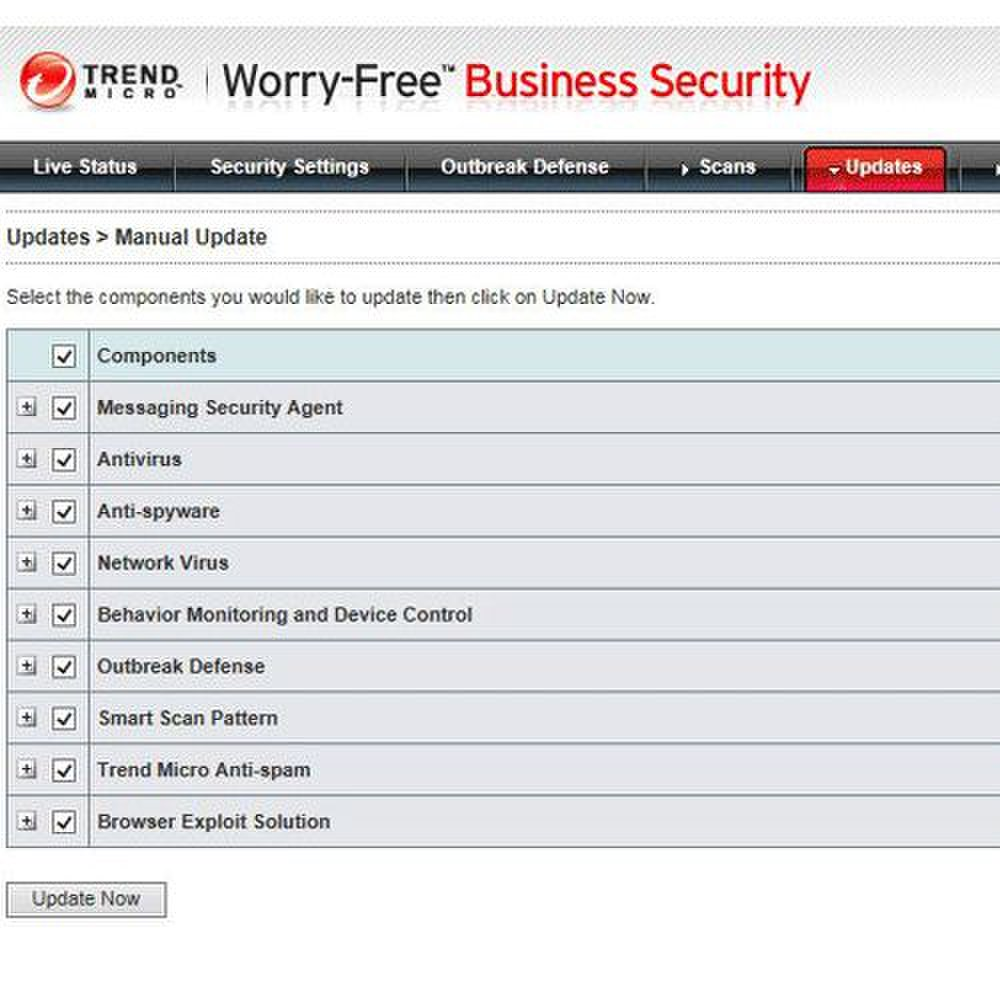 Trend Micro Worry Free Business Security Advanced image: Using the management console, you can also update components for the most accurate network security.