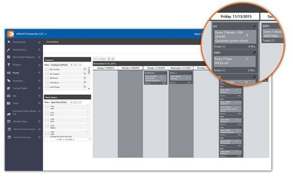 This CMMS helps with preventive maintenance by setting up future maintenance schedules and including them as tasks on calendars.