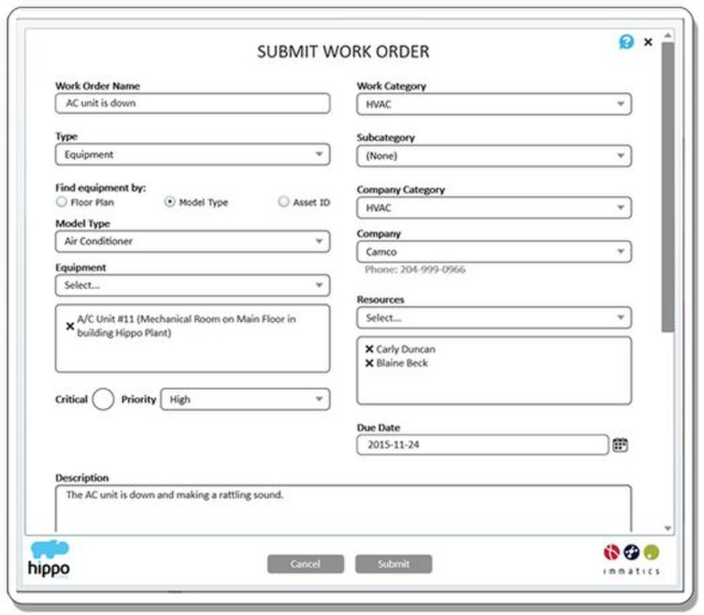 You can easily submit a work order in this CMMS – just fill out the fields and hit the Submit button.