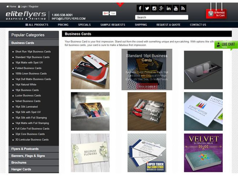 Elite Flyers image: This service offers a variety of paper types and finishes to help your business card stand out.