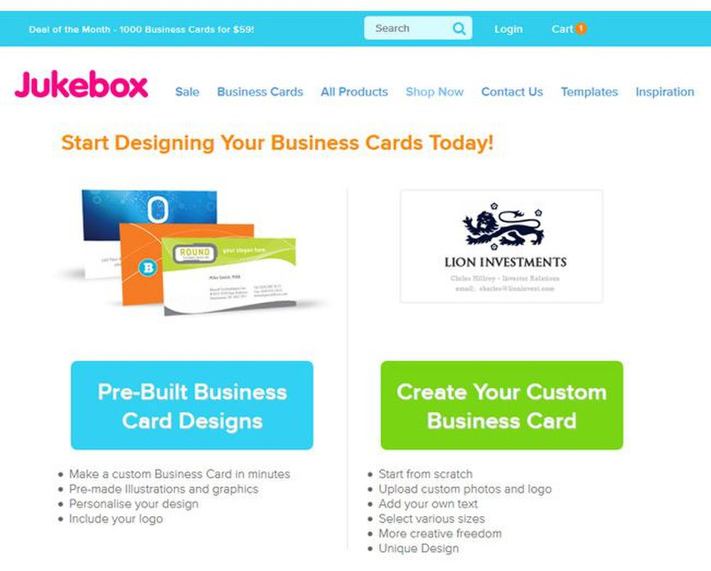 Jukebox Print image: You can either upload a card with an existing design, use a pre-designed business card or design one using the service's design tool.