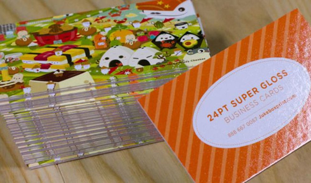 Jukebox Print image: This service's super glossy cards really make your business cards shine.