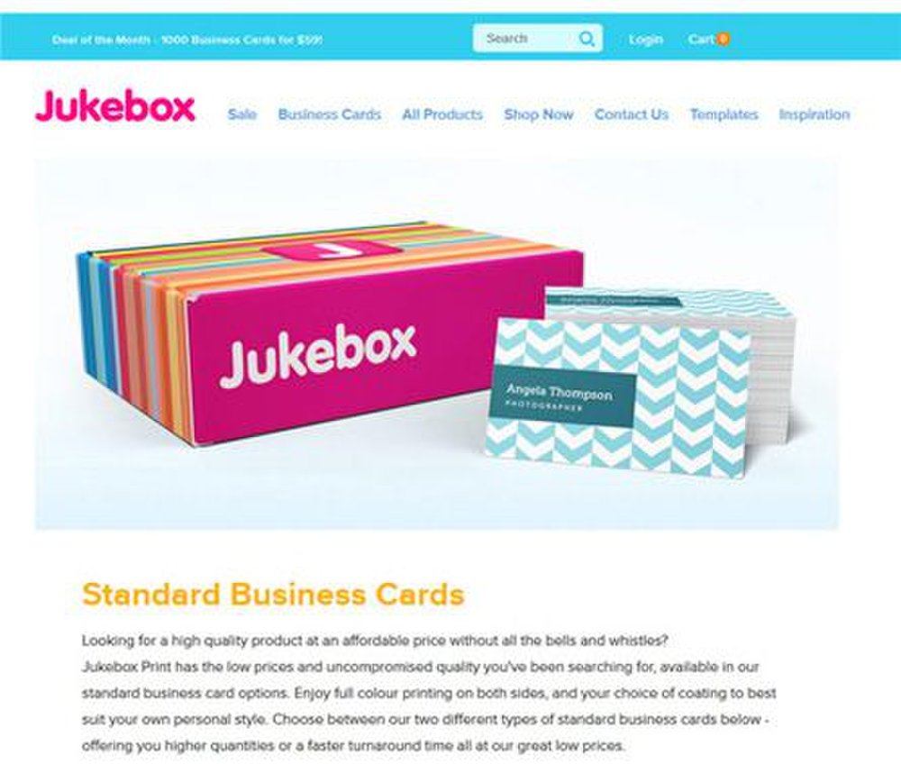 Jukebox Print image: If you need business cards quickly, this card printer offers a range of same-day business cards you can select from.