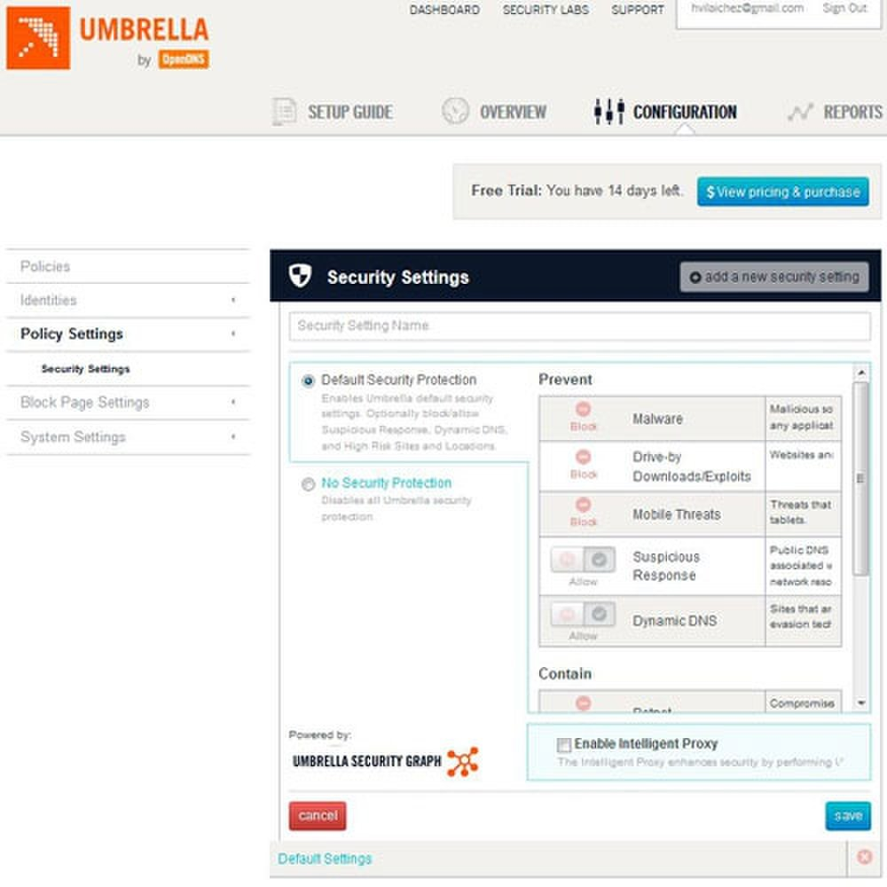 Umbrella Everywhere image: The Security Settings page lets you determine your security policy.