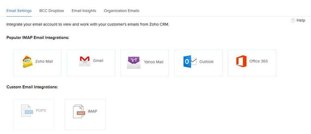 This CRM lets you integrate almost any email client so you have access to your email through the CRM.