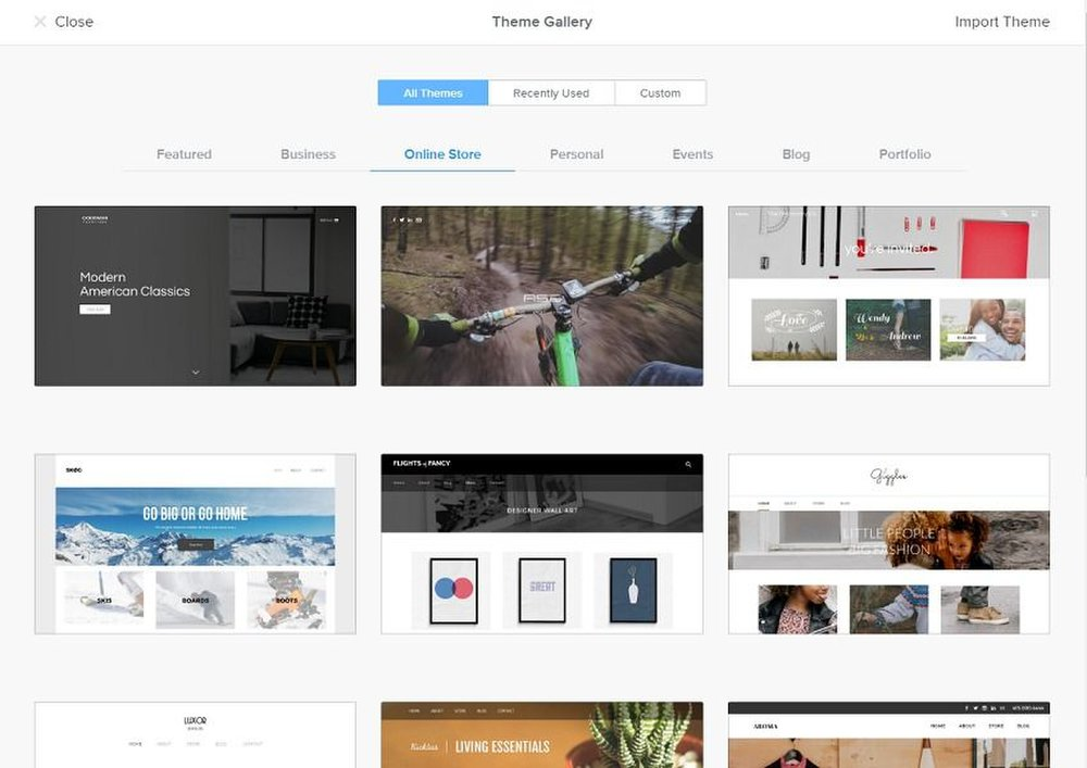 Weebly image: The platform sorts its library of themes into categories that are optimized for running an online store, creating a portfolio or building a simple blog.