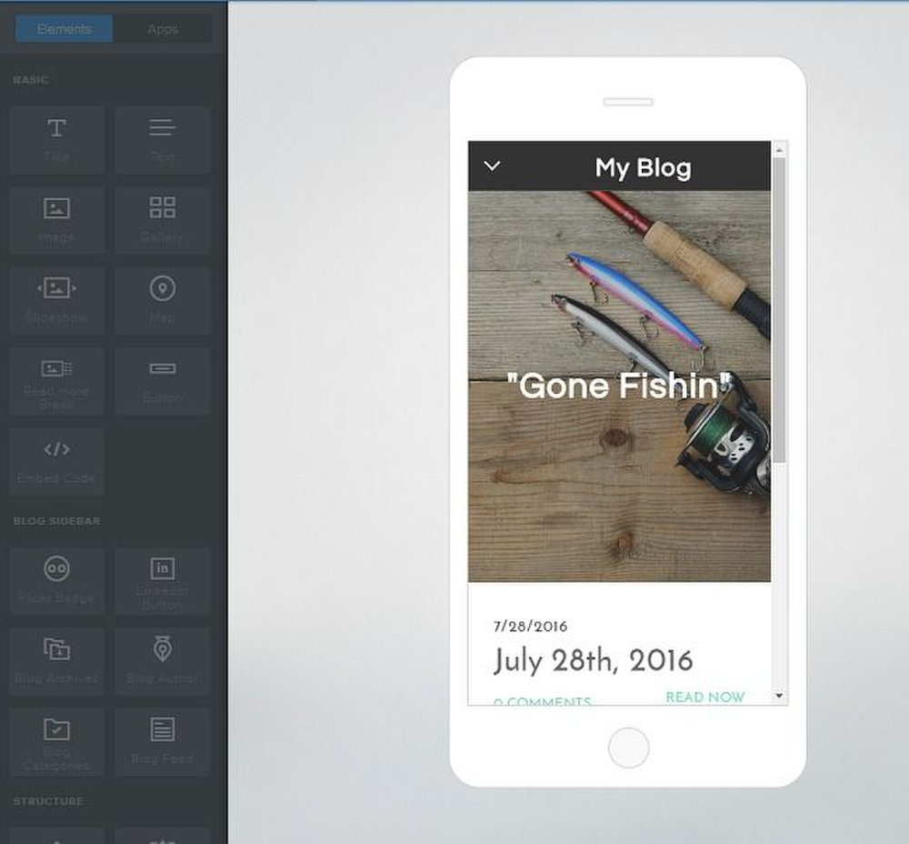 8. Weebly image: The design interface has a mobile view so you can see what your blog will look like on a smart phone.