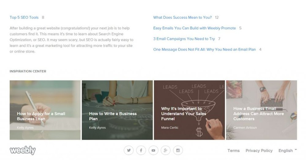 Weebly image: Support pages and informative blog posts on improving your own blog are readily available through the dashboard.