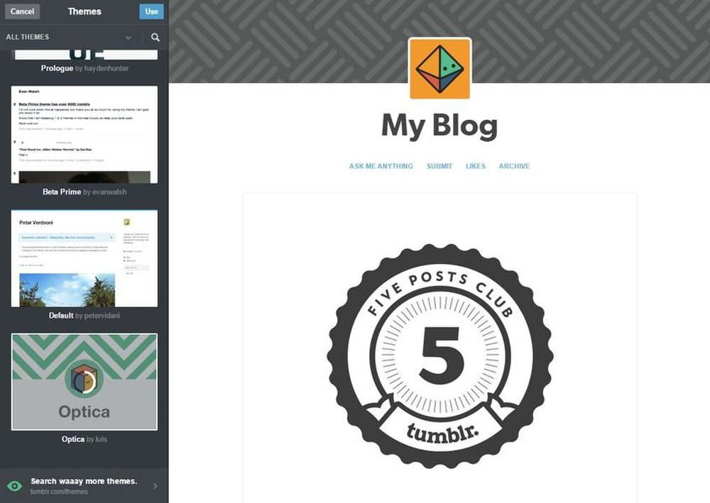 Tumblr image:  It's easy to seamlessly change the theme of your blog. Tumblr has hundreds of free and paid templates.