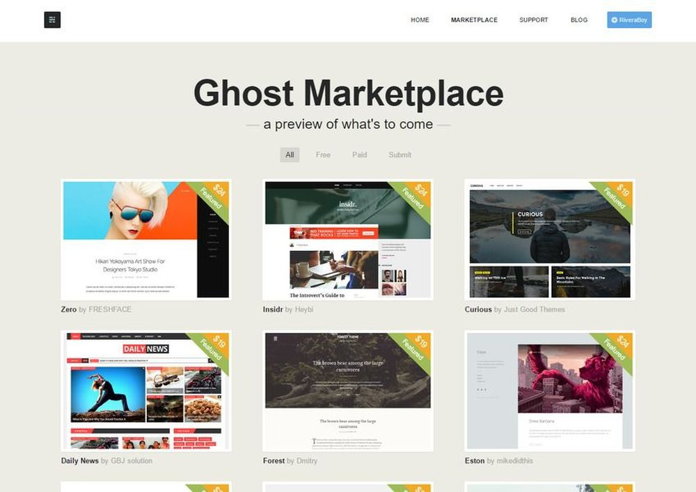 Ghost image: Ghost gives you access to a marketplace of both paid and free open-source templates for your blog.