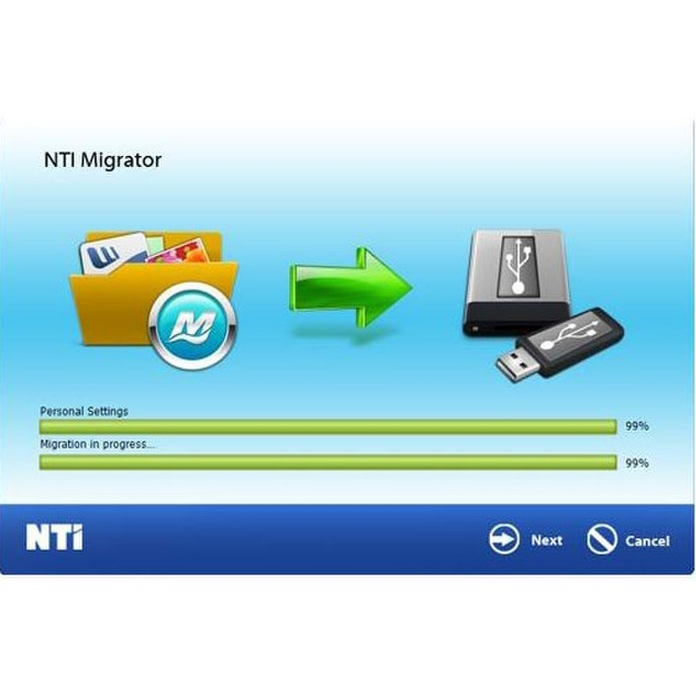 NTI Migrator transfers all your selected files and folders to the USB drive hosting the software.