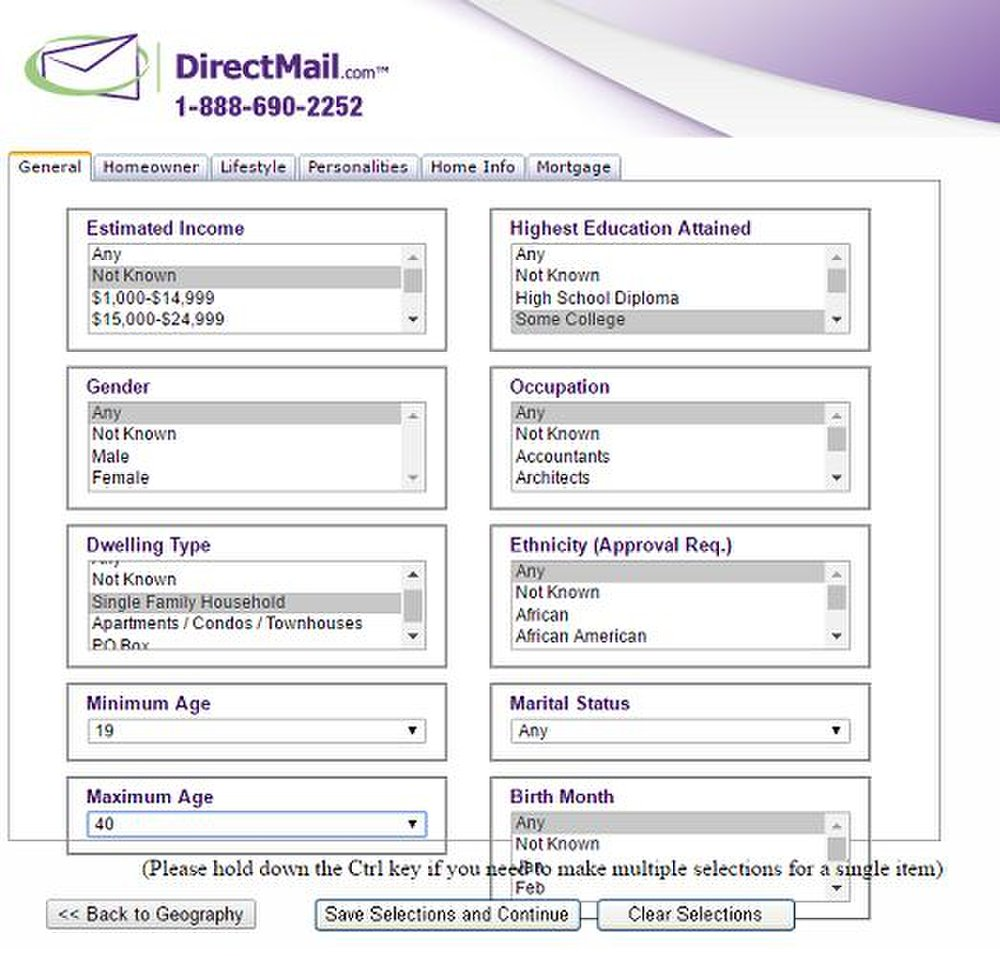 DirectMail.com image: The list compiler is easy to use, with different criteria available in dropdown menus.