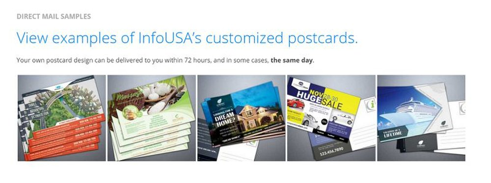 InfoUSA image: This company has professional designers to help create your company's mailer or postcard.